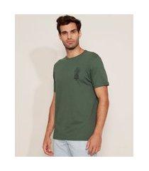 "camiseta masculina folhas down to the ground"" manga curta gola careca verde escuro"""