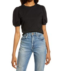 french connection puff sleeve top, size x-small in black at nordstrom