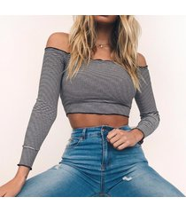 long sleeve t-shirt for women sexy off shoulder striped crop top shirt blouse