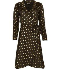 midi jurk met goudkleurige stippen isaya  zwart