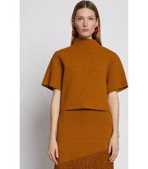 proenza schouler compact knit mockneck top oak/brown l