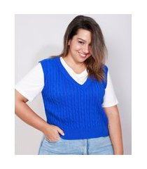 colete de tricô feminino plus size mindset texturizado trança decote v azul royal