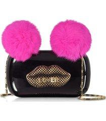 maissa designer handbags, black plexiglass lover clutch w/pink fur pompoms