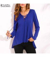 zanzea nuevo de las mujeres con cordones v profundo con capucha tops ocasional de la camisa blusa suelta más el tamaño -azul