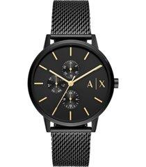 ax armani exchange men's cayde black stainless steel mesh bracelet watch 42mm