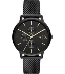 ax armani exchange men's cayde black stainless steel mesh bracelet watch 42mm