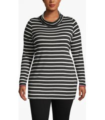 lane bryant women's active striped cowlneck tunic 22/24 black/white stripe