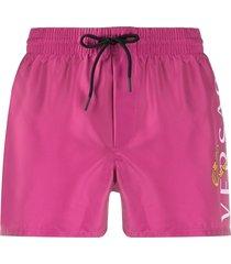 versace logo print swim shorts - pink