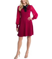 women's cece embellished collar tie neck long sleeve dress, size xx-large - red