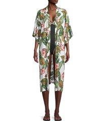 lulla collection by bindya women's tropical-print kimono coverup - green white combo