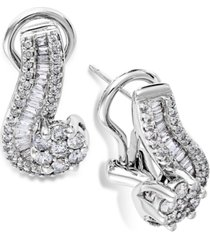 14k white gold earrings, diamond (1 ct. t.w.) cluster swirl earrings