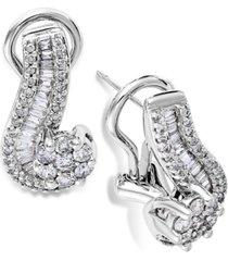 14k white gold earrings, diamond (1 ct. t.w.) cluster swirl earrings