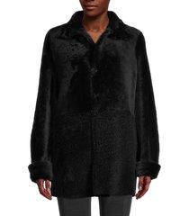 blue duck women's reversible shearling jacket - black - size s