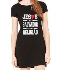 vestido criativa urbana estampado jesus é meu salvador