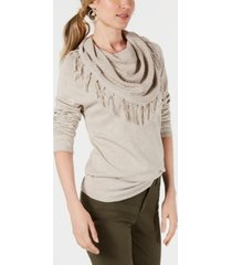 style & co petite fringed cowl-neck sweater, created for macy's