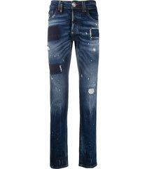 philipp plein teddy bear straight cut jeans - blue
