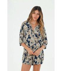 pijama para mujer tennis, conjunto con estampado de tigres