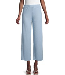 love ady women's ribbed flare pants - chambray - size m