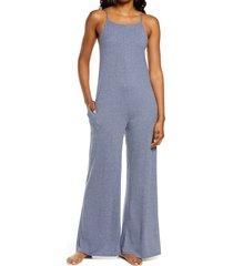 women's socialite square neck lounge jumpsuit, size small - blue