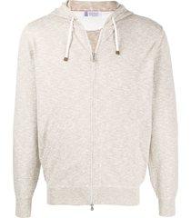 brunello cucinelli knitted zip-up hoodie - neutrals