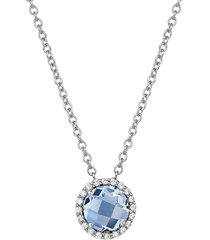women's lafonn birthstone halo pendant necklace