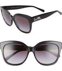 women's coach 56mm square sunglasses - black/ blue glitter