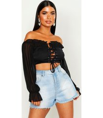 petite lace up blouson sleeve corset top