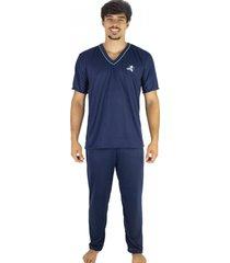 pijama mvb modas longo adulto manga curta e calça azul