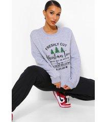 kerstboom sweater, grey marl