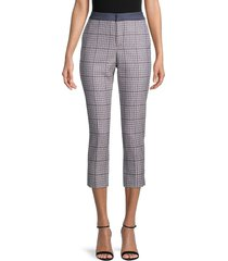 tommy hilfiger women's plaid woven cropped pants - midnight - size 12