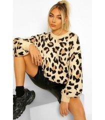 gebreide luipaardprint trui, multi
