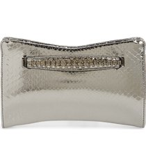 jimmy choo genuine python clutch with crystal bracelet handle -