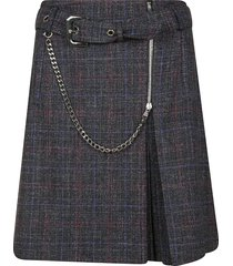 alberta ferretti chained zip checked skirt