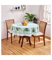 toalha de mesa redonda lepper lu estampada 155cm verde água