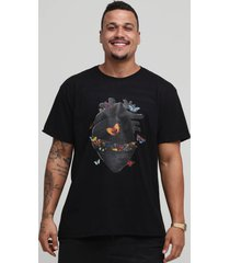 camiseta hurting black heart butterfly