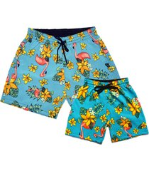 kit shorts e bermuda ks pai filho praia microfibra com elastano estampado floral