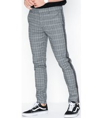 river island new check taped byxor grey