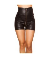 sexy hoge taille wetlook shorts zwart