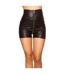 sexy hoge taille wetlook shorts zwart