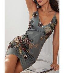 gris sin espalda diseño cuello en v con estampado floral al azar vestido