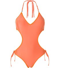 amir slama tie cut-out one-piece - orange