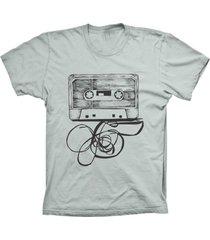 camiseta baby look lu geek fita k7 prata