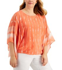 jm collection plus size tie-dyed flutter-sleeve mesh top, created for macy's