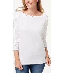 karen scott cotton boat-neck studded top, created for macy's
