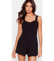 womens square to explain cupped romper - black