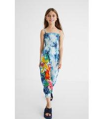 long cotton jumpsuit tie dye flowers - blue - 13/14
