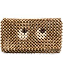 anya hindmarch eyes wood clutch bag - brown