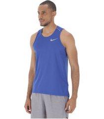 camiseta regata nike dry miler - masculina - azul mescla