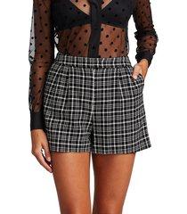 l'agence women's emerie pleated plaid shorts - black ivory - size 10