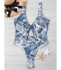 bowknot cut out leaf print one-piece swimwear